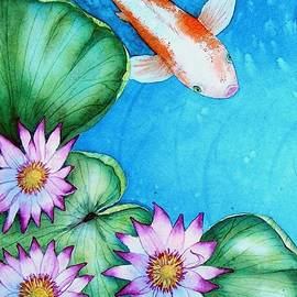 Koi and Lilies cards and prints  by Mishel Vanderten