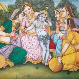 B K Mitra - Krishna leela Lord Balkrishna Enchants the Gopies indian Miniature Painting Watercolor Artwork Modi