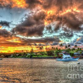 Kauai HI Kukui Ula Small Boat Harbor Sunset Landscape Seascape Art by Reid Callaway