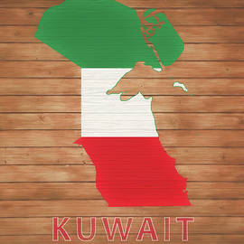Dan Sproul - Kuwait Rustic Map On Wood