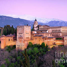 La Alhambra, Sierra Nevada and Granada. At pink sunset by Guido Montanes Castillo