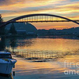 La Conner Rainbow Bridge Sunset - Mike Reid