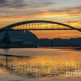 La Conner Rainbow Bridge Sunset Reflection - Mike Reid