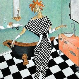 La Toilette -- Woman in Whimsical Art Deco Bathroom by Jayne Somogy