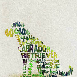 Labrador Retriever Watercolor Painting / Typographic Art - Ayse and Deniz