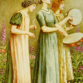 R Muirhead Art - Beautiful Virtuous Girls playing vintage
