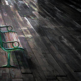 Ronel BRODERICK - Lamp light on abandoned  bench