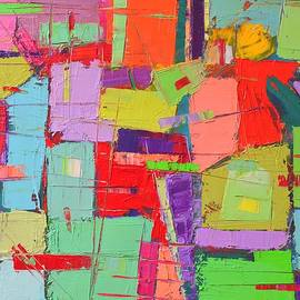 Ana Maria Edulescu - Land Of Colors - Modern Art Nonobjective Abstract Palette Knife Oil Painting By Ana Maria Edulescu