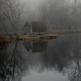 Cloudy smoke landscape about a fishing lake, photo series 26. by Akos Horvath