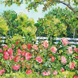 Ingrid Dohm - Landscape with Roses Fence