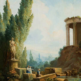 Landscape with the ruins of the Temple of the Sibyl at Tivoli - Hubert Robert
