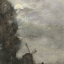 Jacob Maris - Landscape with windmill by moonlight