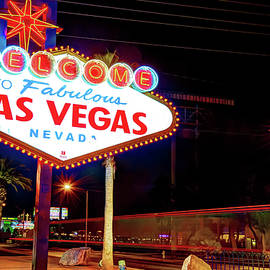 Las Vegas Welcome Sign Lights by Gregory Ballos