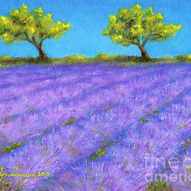 Lavender Field with Twin Oaks