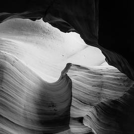 Layered Shadows - Black and White - Antelope Canyon