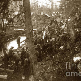 Laying Rails Along The Bluff Skagway 1898 by California Views Archives Mr Pat Hathaway Archives