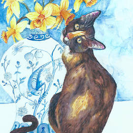Layla Lu and daffodils too by Melinda Dare Benfield
