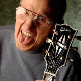 David Smith - Les Paul with tongue out by Gene Martin