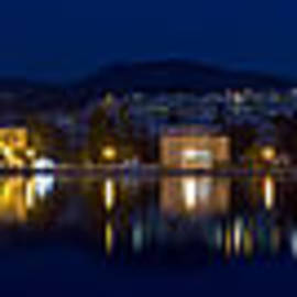 Vassilis Triantafyllidis - Lesvos Mytilene night Panoramic photo 140 degrees