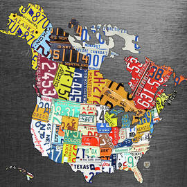 Design Turnpike - License Plate Map of North America Canada and the United States on Gray Metal