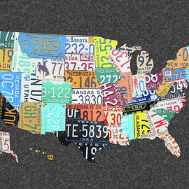 License Plate Map of the United States on Gray Felt Large Format Sizing - Design Turnpike