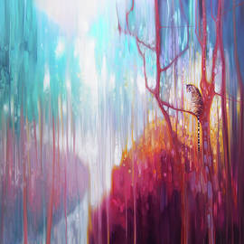 Gill Bustamante - Light of the Jungle - a semi abstract forest landscape with tiger