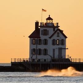 Nancy Spirakus - Lighthouse and Liquid Gold Waves
