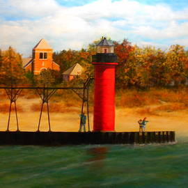 South Haven, MI Lighthouse in 4 Seasons Fall by Michael John Cavanagh
