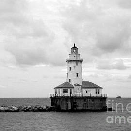 Charlene Cox - Lighthouse Lake Michigan  Black and white