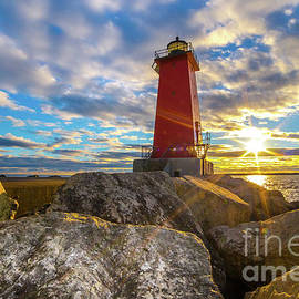 Norris Seward - Lighthouse Manistique Sunset -5334   Michigan