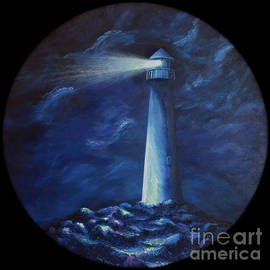 Liesl Walsh - Lighthouse on Round Canvas
