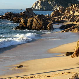 Lighthouse on the cliff Cabo Beach  Footprints by Charlene Cox