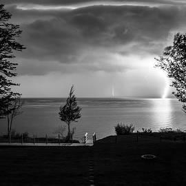 Mary Lee Dereske - Lightning on Lake Michigan at Night in BW