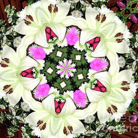 Rose Santuci-Sofranko - Lily Carnation And Daisy Kaleidoscope Mandala