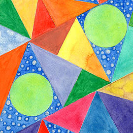 Heidi Capitaine - Lime Green Circles within a Cool Triangles Pattern