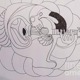 Line Art - The Guitarist by James Lavott