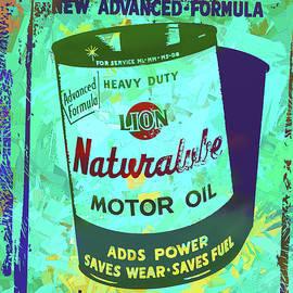 David King - Lion Naturalube Motor Oil Vintage Sign Pop Art