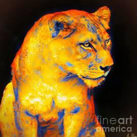 Lioness On Black by Janal Koenig