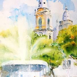 Lions Fountain Plaza Las Delicias  Ponce Cathedral Puerto Rico by Carlin Blahnik CarlinArtWatercolor