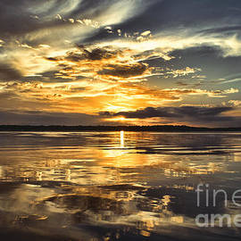 Liquid Gold North Carolina Seascape Sunset by Kelley Freel-Ebner