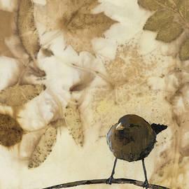 Carolyn Doe - Little Bird On Silk With Leaves
