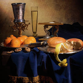 Levin Rodriguez - Little Breakfast with oranges-bread-salt cellar and silver cup