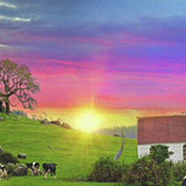Little Country Church Sunset Panorama by Lynn Bauer