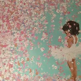 Kimberly A P - Little girl ballerina in flowers, dreaming