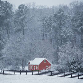 Stamp City - Little Red Barn in the Snow