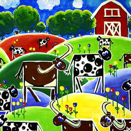 Jackie Carpenter - Little Red Barn Texas Longhorns Dairy Cows Hills Flowers Trees