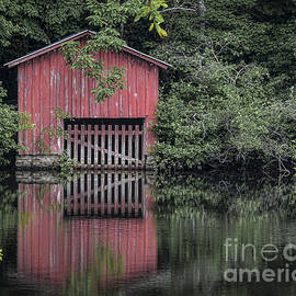 Little Red Boathouse by Ken Johnson