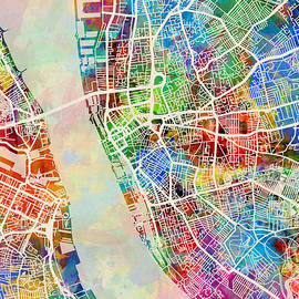 Liverpool England Street Map by Michael Tompsett