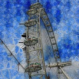 London Eye and Lights Stained Glass by Mo Barton