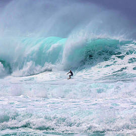 Lone Surfer on the Wave Pipeline Hawaii, Island of Oahu by Julie Thurston Let Go  Live Hawaii